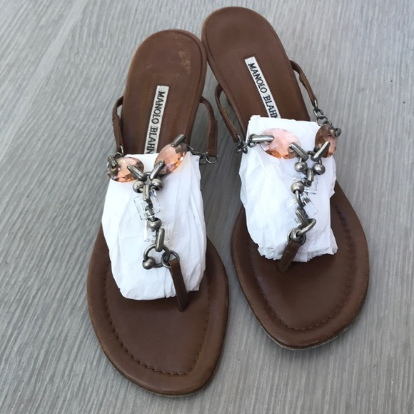 Manolo Blahnik Shoes - Manolo Blahnik Brown Leather Chandelier Sandals